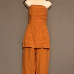 Free People Linen Strapless Tie Back Pant Set NWT